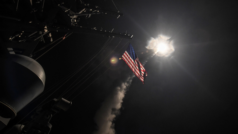 The US Navy's USS Porter launching a cruise missile strike against Syria, April 7th 2017