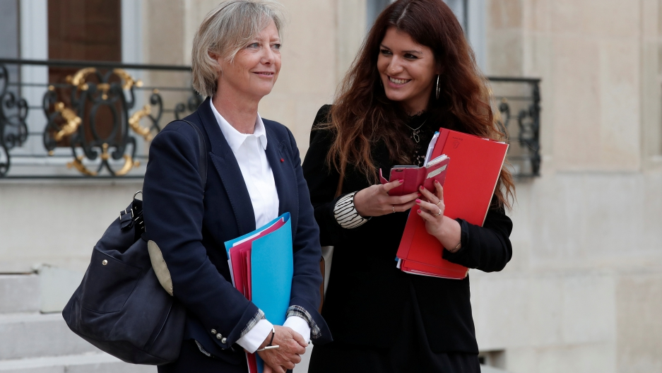 Marlene Schiappa (R), France's minister for gender equality, is spearheading the new law banning cat-calling and harassment of women on French streets.