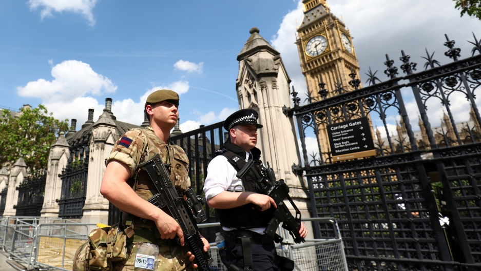 Troops have been deployed to guard key sites in London and other British cities.