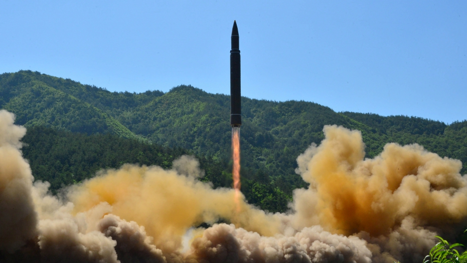 A North Korean image said to be the launch of that nation's first inter-continental missile, on July 4th 2017