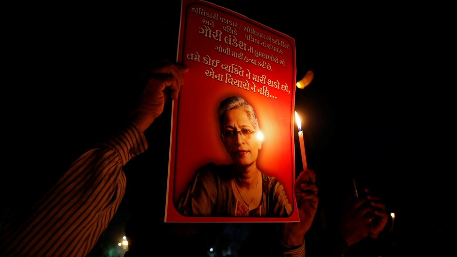 Protests and memorials in Lankesh's memory have been held across India