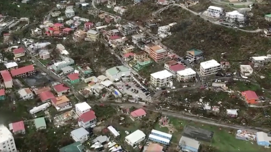 An aerial view of devastation following Hurricane Irma on St Thomas, one of the main US Virgin Islands