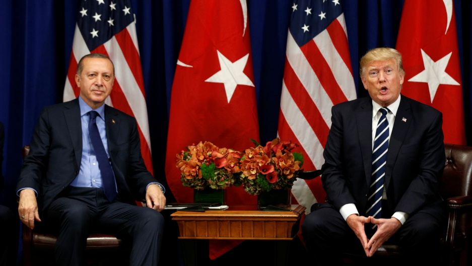 US President Donald Trump meets with President Recep Tayyip Erdogan of Turkey during the UN General Assembly in New York, Sept. 21, 2017.