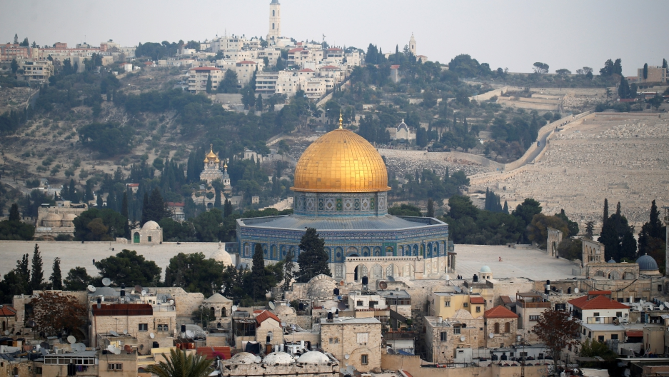 A general view shows part of Jerusalem's Old City and the Dome of the Rock.