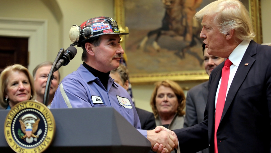 President Trump and a coal miner