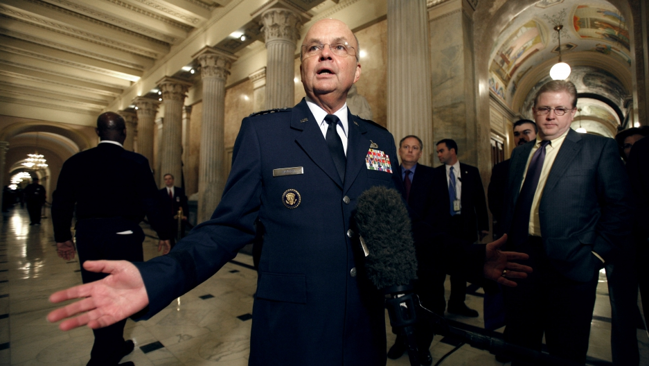 CIA Director Michael Hayden speaks to reporters upon his arrival in the Capitol for a meeting with the House Appropriations Committee's Select Intelligence Oversight Subcommittee, in Washington December 13, 2007.