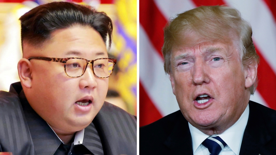 This combination photo shows North Korean leader Kim Jong-un (left) in Pyongyang, North Korea and US President Donald Trump in Palm Beach, Florida.