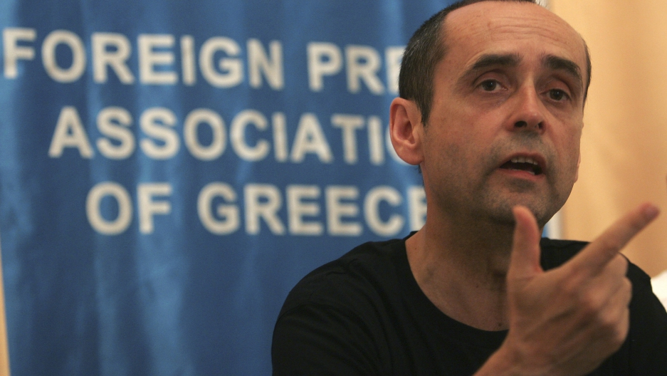 Robert Menard, a journalist from the group Reporters without Borders, speaks at a news conference in Athens May 29, 2008.