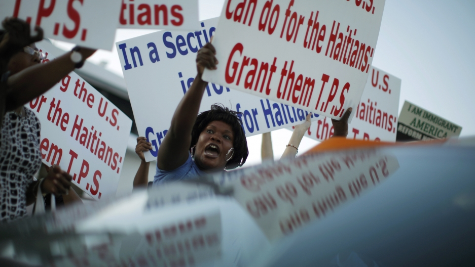 This is a rally in support of TPS for Haitian immigrants back in 2009, during a visit by former US President Barack Obama to Miami, Florida.
