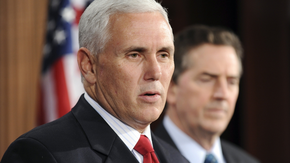 Indiana governor Mike Pence speak to reporters during a news conference at the U.S. Capitol in Washington December 2, 2010.
