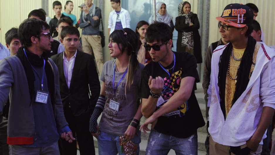 Afghan rappers attend during the Sound Central music festival in Kabul May 1, 2013.
