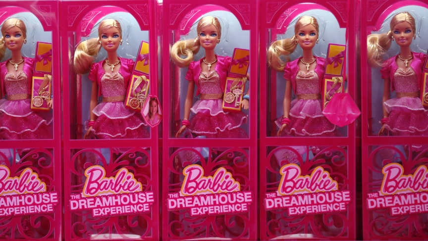 """Mattel's Barbie dolls on sale are pictured inside a shop of a life-size """"Barbie Dreamhouse"""" during a media tour in Berlin, May 15, 2013."""