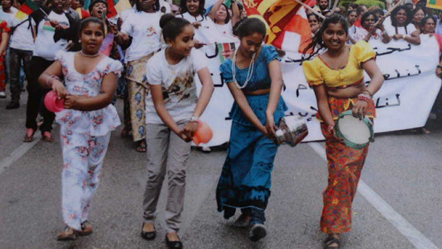 Rainey takes part in a Sri Lankan parade in Lebanon.