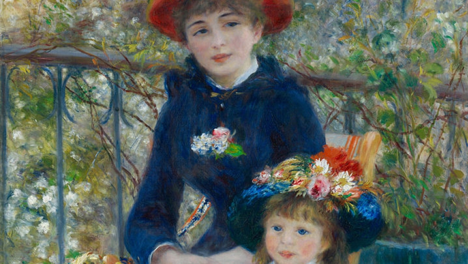 """A cropped image of Pierre-Auguste Renoir's """"Two Sisters (On the Terrace)."""""""