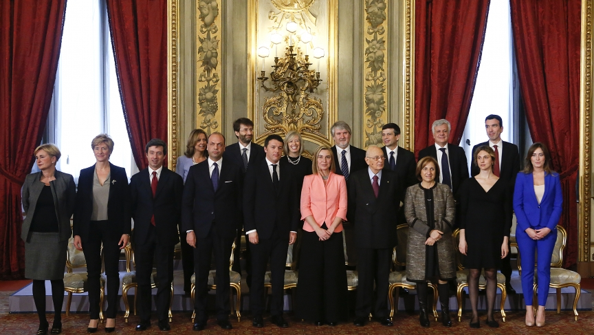 Italy's Prime Minister Matteo Renzi and members of his cabinet pose with President Giorgio Napolitano.