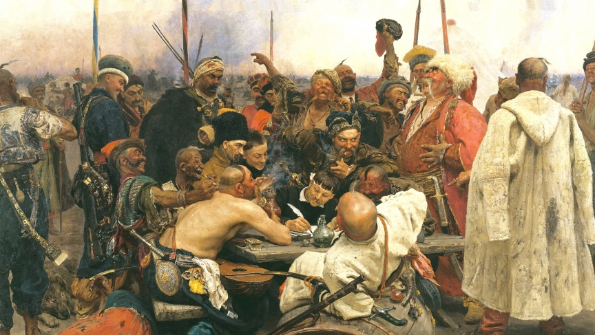 Early Ukrainian diplomacy. The Zaporozhian Cossacks reply to the Sultan of Turkey, by 19th century Russian artist, Ilya Repin. Ukraine has always been vulnerable to more powerful neighbors.