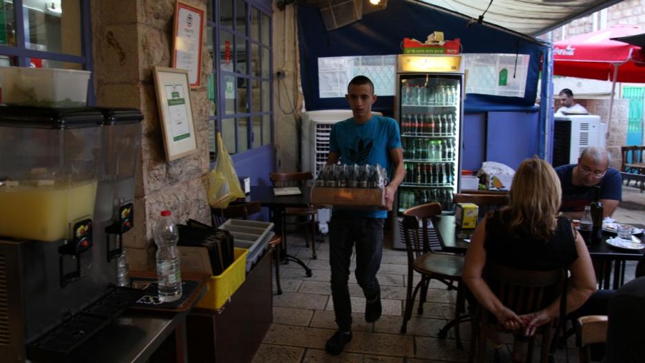 A Palestinian worker at Azura in Jerusalem.