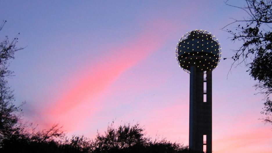 Reunion Tower in Dallas at night.