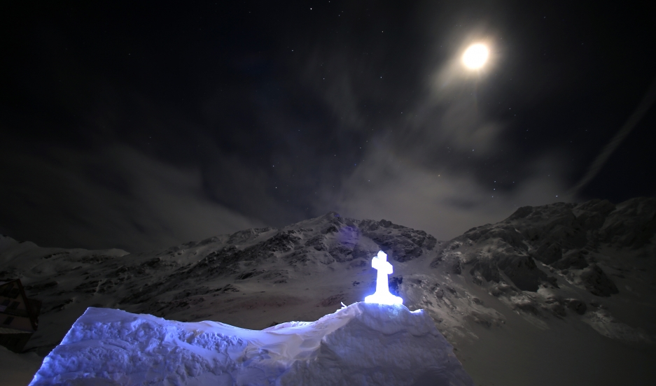 A church made entirely from ice is seen during the night at Balea Lac resort in the Fagaras mountains.