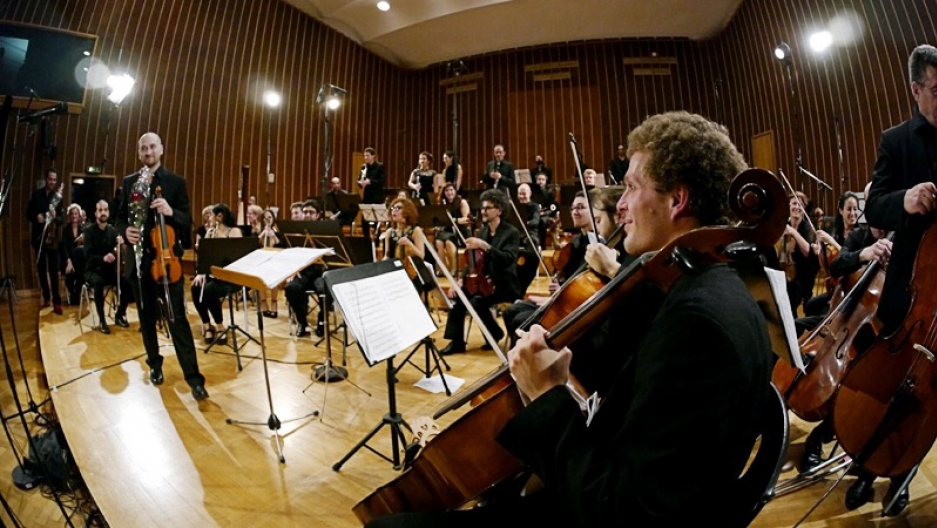 The Syrian Expat Philharmonic Orchestra performing in Bremen, Germany.