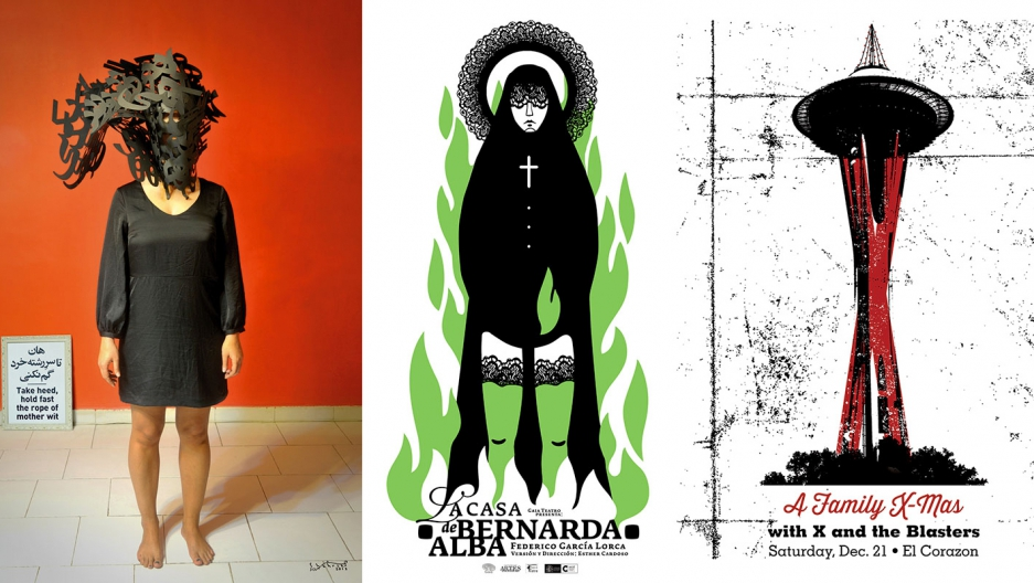 "A triple of posters from left to right: ""Take Heed, Hold Fast the Rope of Mother Wit"" by Shahrzad Changalvaee (Tehran); ""La Casa de Bernarda Alba"" by Darwin Fornés (Havana); ""A Family X-Mas"" by David Gallo (Seattle)."