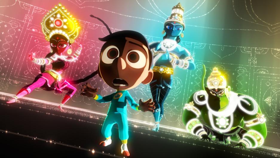 "Hindu deities surround the character Sanjay in the latest Pixar film, ""Sanjay's Super Team."""