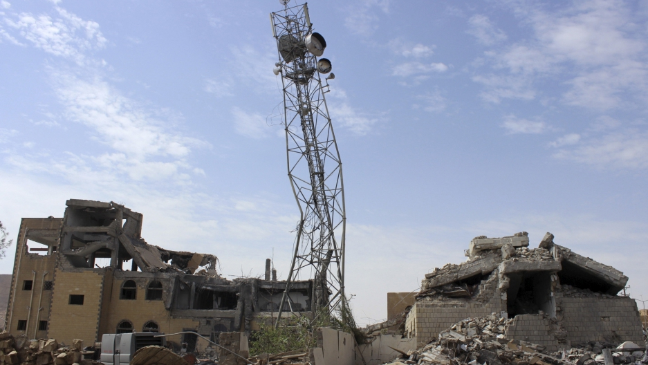 A telecommunications center destroyed by a recent Saudi-led air strike, Yemen's northwestern city of Saada, May 2015.