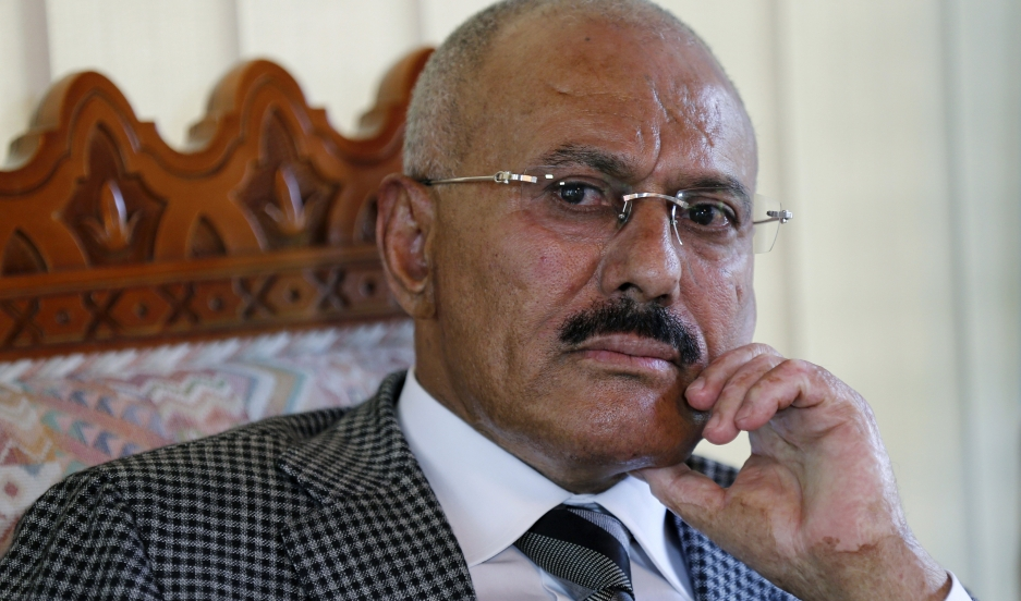 Yemen's former president, Ali Abdullah Saleh, pauses during an interview with Reuters in Sanaa on May 21, 2014.