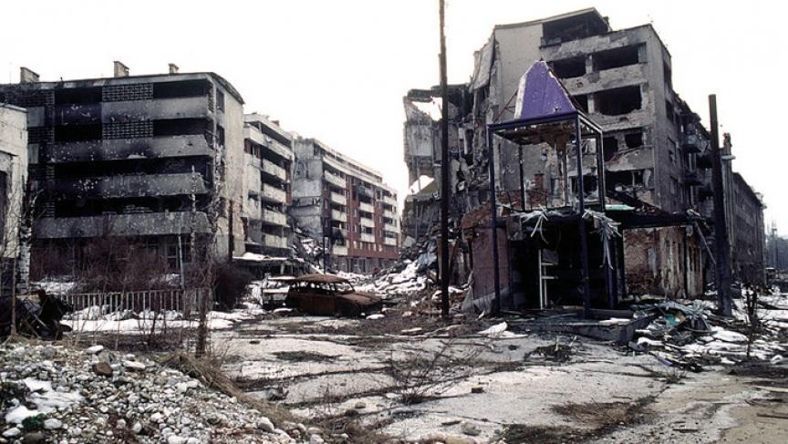 View of Grbavica, a neighborhood of Sarajevo, Bosnia.