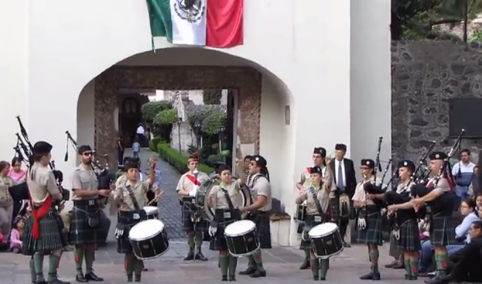 A bagpipe band in Mexico plays in honor of the San Patricios.