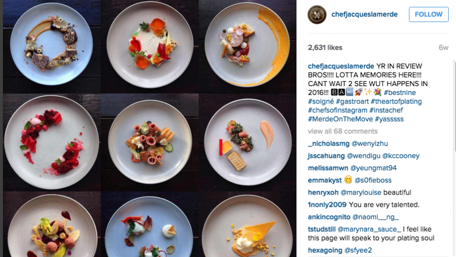 A sampling of Chef Jacques La Merde's meticulously tweezed dishes of high-end food.