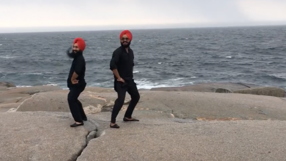 Maritime Bhangra dance in Peggy's Cove, Nova Scotia.