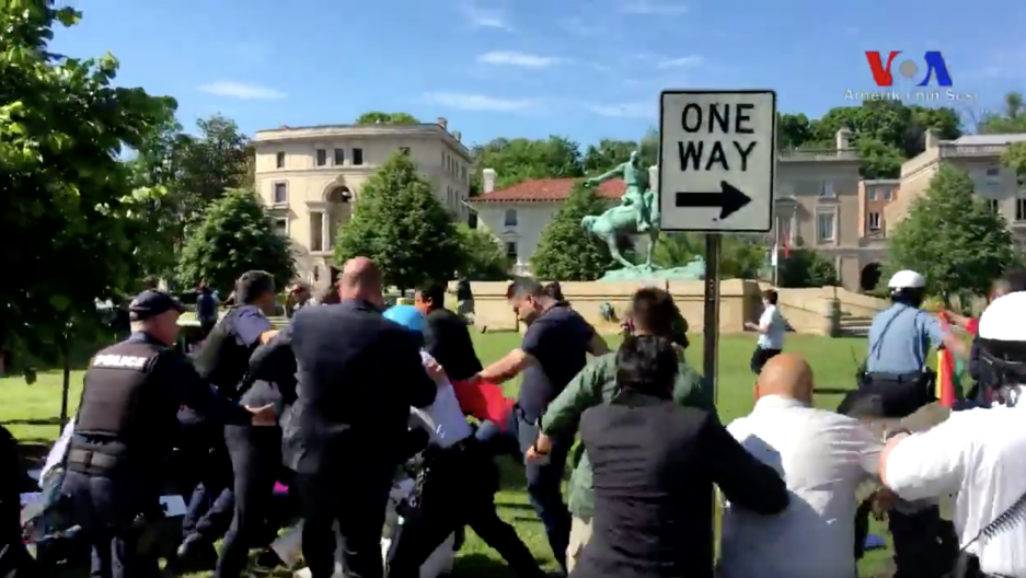 Opponents and supporters of the Turkish government beat each other up outside the residence of the Turkish ambassador to Washington, DC.