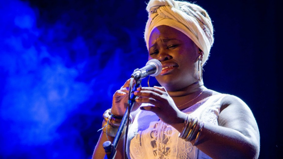 Afro-Cuban jazz singer Daymé Arocena performs during the New Era concert in Havana, 2016.