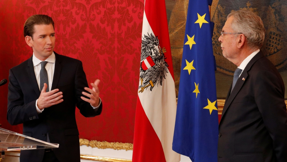 Leader of the People's Party Sebastian Kurz addresses the media after formally being asked to form a government by Austrian President Alexander Van der Bellen in Vienna.