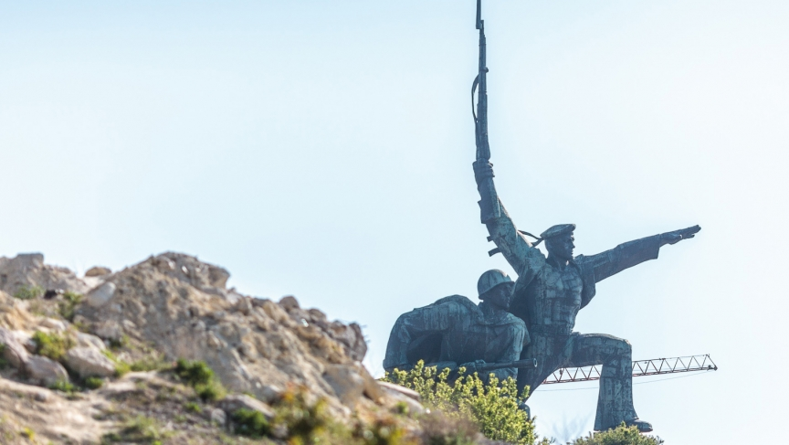 A monument in Sevastopol to the city's heroic defense against the Nazis in World War Two