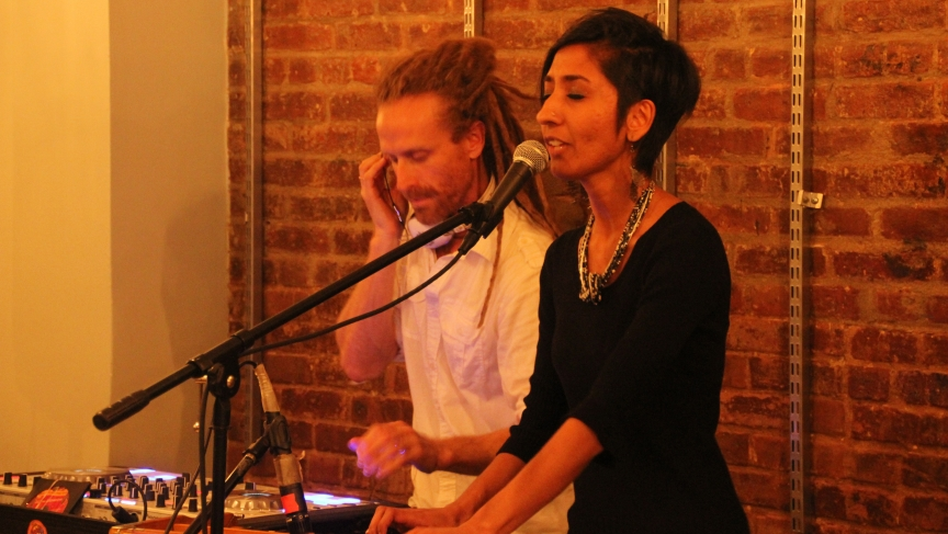 DJ Drez and Sheela Bringi at the Black Swan Sounds label showcase at The Bakhti Center in Manhattan's East Village.