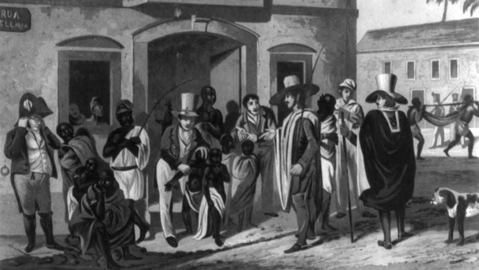 A slave market in Rio, c.1824