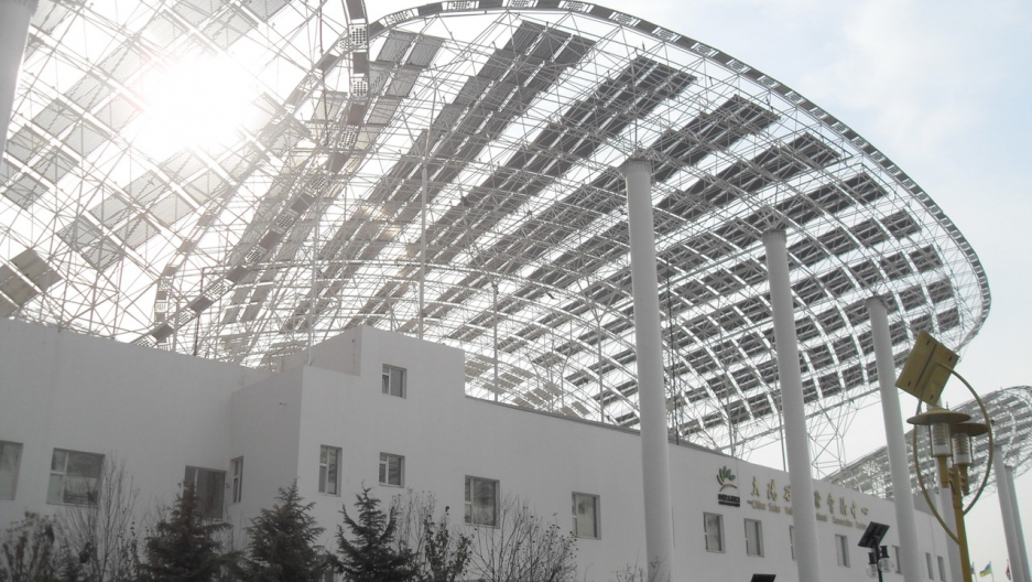Solar panels collect energy on a building in Dezhou, Shandong Province, China.