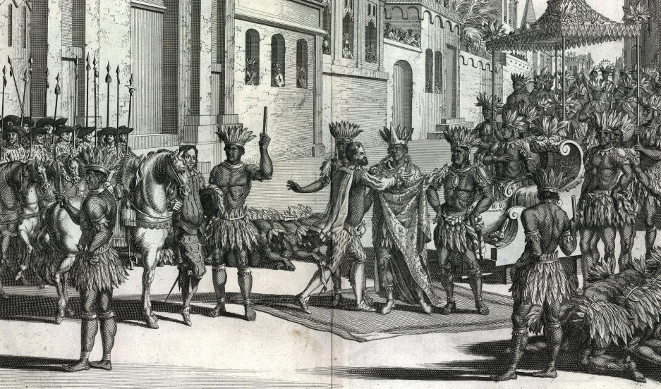 An illustration from an 18th century history of the conquest of Mexico by the Spaniards.