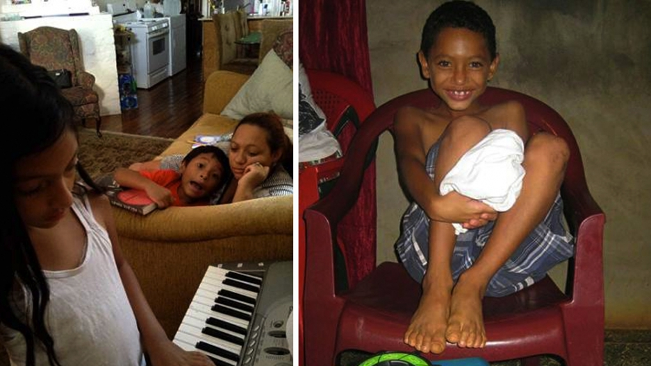 (Left photo) Mariela, Jefferson and Ilda Sarmiento in the US and (Right photo) Johan in Honduras.