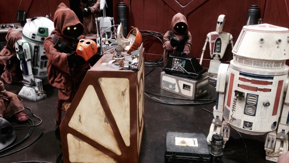 A set of Jawas and their droids at Star Wars Celebration 2015 at the Anaheim Convention Center.