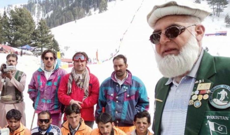 Matee Ullah Khan and members of his ski school at the Malam Jabba ski area in Pakistan's Swat Valley.