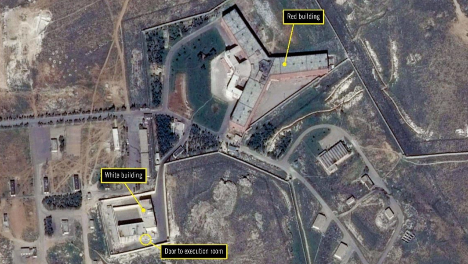 A satellite image of Syria's Saydnaya military prison, annotated by Amnesty International, via Google Earth and DigitalGlobe.