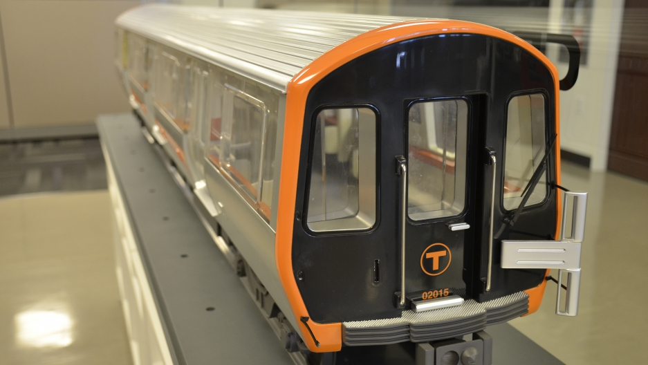 A model of a new Orange Line subway car that will be built by CRRC MA. The new cars should start rolling out in 2019.