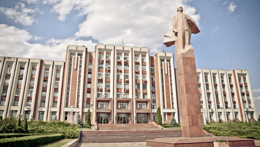 Statue of Vladimir Lenin in front of the Transnistrian parliament building in the break-away region's capital, Tiraspol.