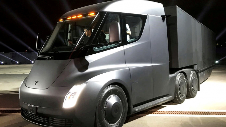 Tesla's new electric semitruck is unveiled during a presentation in Hawthorne, California, U.S. on November 16, 2017.