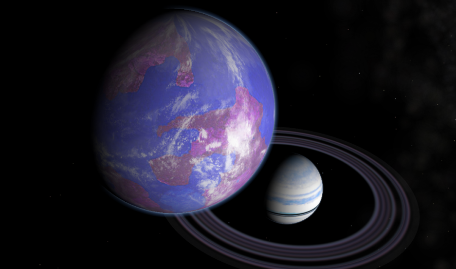 An artist's rendering of a habitable moon orbiting a gas giant planet.