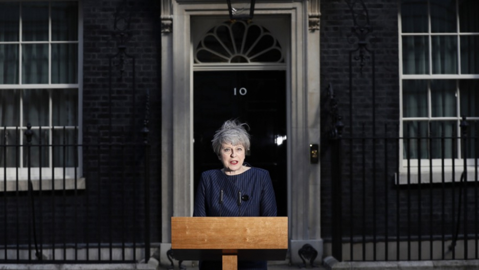Britain's Prime Minister Theresa May speaks to the media outside 10 Downing Street, in London