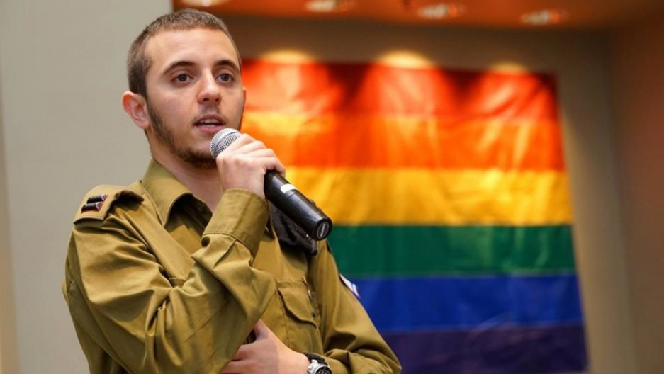 Lt. Shachar Erez, the first openly transgender officer in the Israel Defense Forces, speaking in Los Angeles at a local synagogue in June 2016.